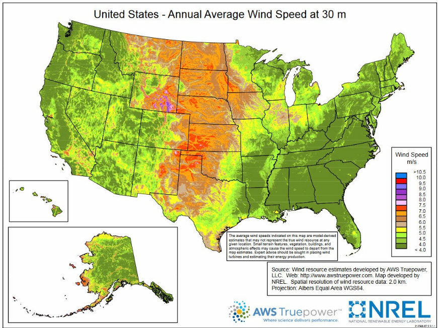 Annual Average wind speed