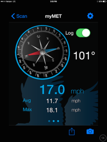 WeatherHawk myMet - Average & Maximum Wind Speed