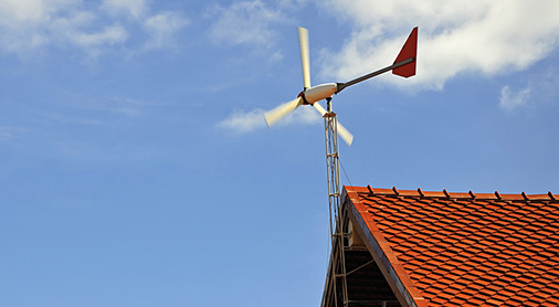 wind turbines on the roof