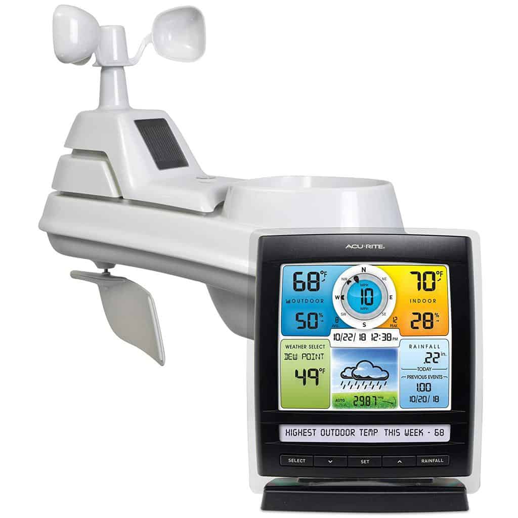 AcuRite 01512 Wireless Station with 5-in-1 Weather Sensor Temperature and Humidity Gauge, Rainfall, Speed and Wind Direction, Full Color
